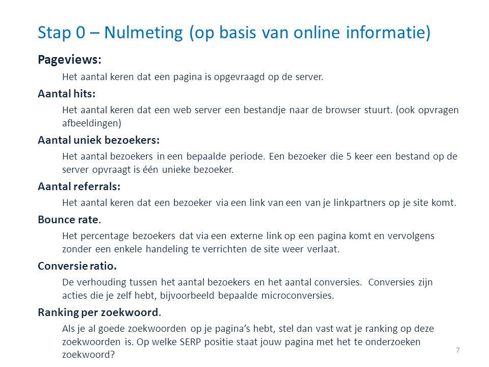 Pageviews: Het aantal keren dat een pagina is opgevraagd op de server. Aantal hits: Het aantal keren dat een web server een bestandje naar de browser