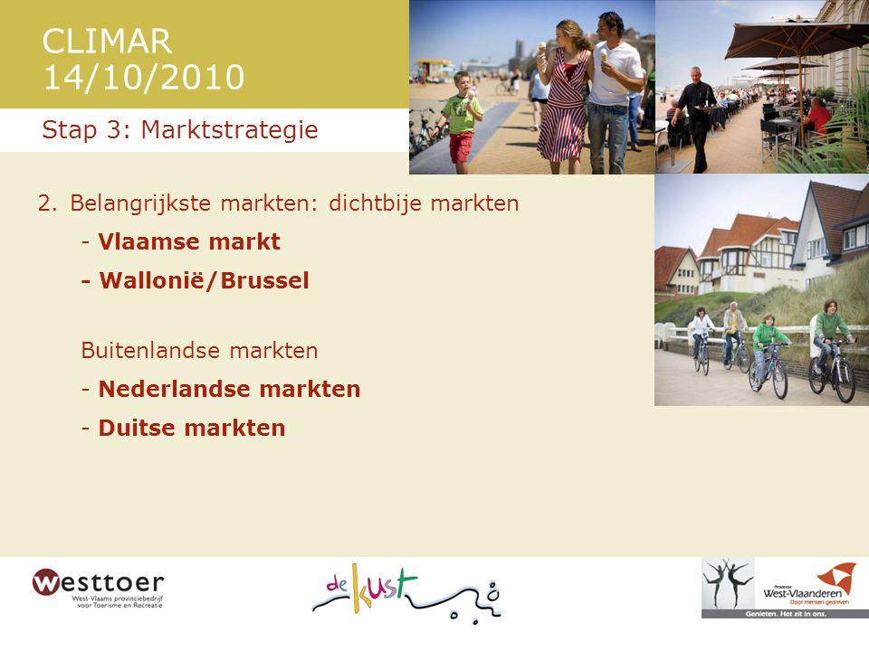CLIMAR 14/10/2010 2.Belangrijkste markten: dichtbije markten - Vlaamse markt - Wallonië/Brussel Buitenlandse markten - Nederlandse markten - Duitse markten Stap 3: Marktstrategie