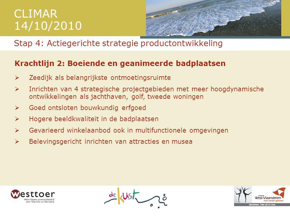 CLIMAR 14/10/2010 Krachtlijn 2: Boeiende en geanimeerde badplaatsen  Zeedijk als belangrijkste ontmoetingsruimte  Inrichten van 4 strategische proje
