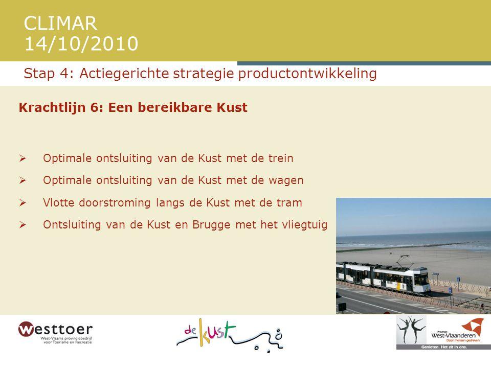 CLIMAR 14/10/2010 Krachtlijn 6: Een bereikbare Kust  Optimale ontsluiting van de Kust met de trein  Optimale ontsluiting van de Kust met de wagen  Vlotte doorstroming langs de Kust met de tram  Ontsluiting van de Kust en Brugge met het vliegtuig Stap 4: Actiegerichte strategie productontwikkeling