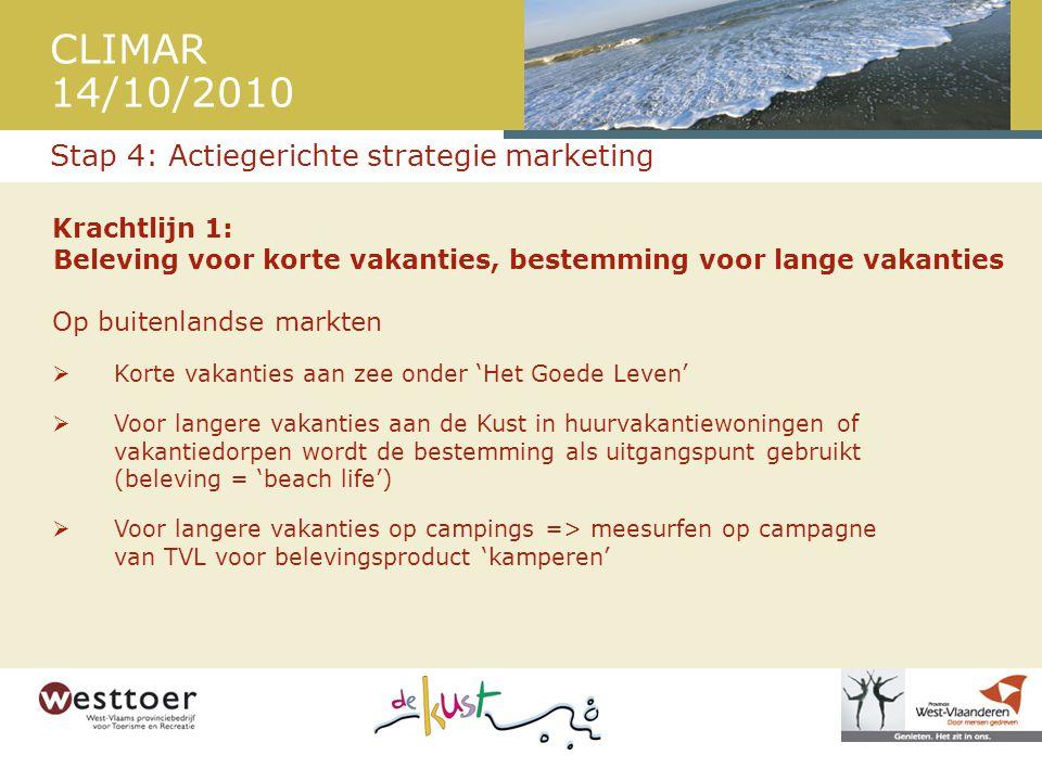 CLIMAR 14/10/2010 Krachtlijn 1: Beleving voor korte vakanties, bestemming voor lange vakanties Op buitenlandse markten  Korte vakanties aan zee onder