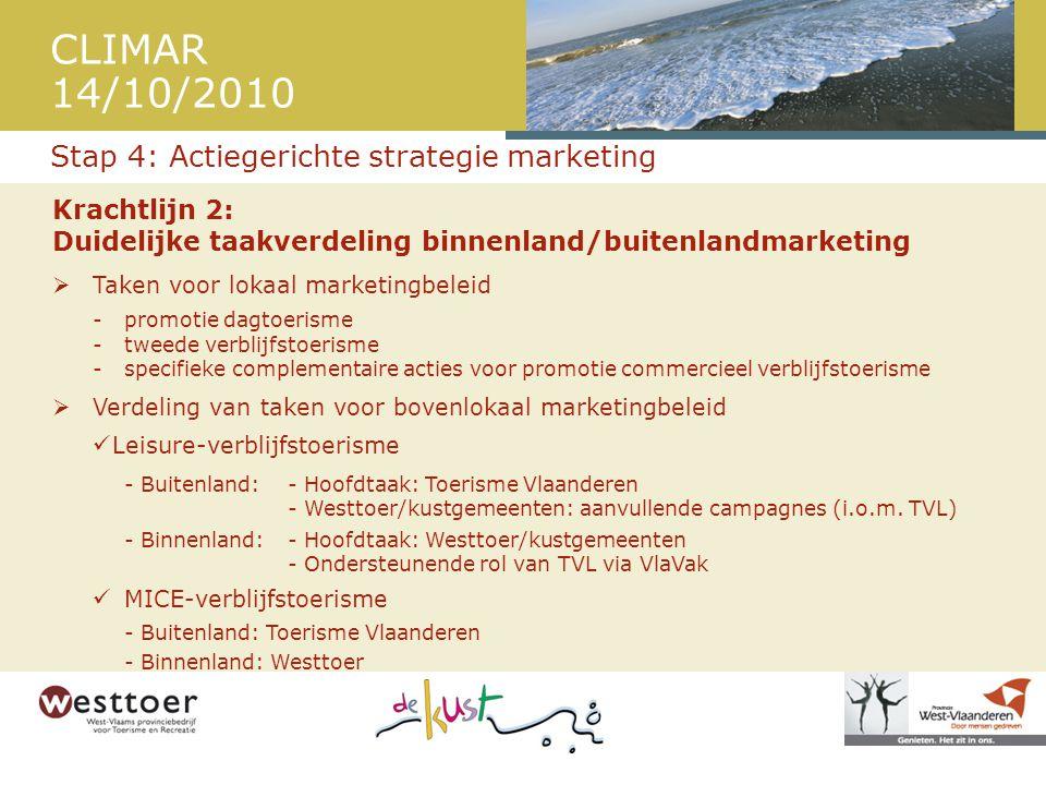 CLIMAR 14/10/2010 Krachtlijn 2: Duidelijke taakverdeling binnenland/buitenlandmarketing  Taken voor lokaal marketingbeleid - promotie dagtoerisme - tweede verblijfstoerisme - specifieke complementaire acties voor promotie commercieel verblijfstoerisme  Verdeling van taken voor bovenlokaal marketingbeleid  Leisure-verblijfstoerisme - Buitenland:- Hoofdtaak: Toerisme Vlaanderen - Westtoer/kustgemeenten: aanvullende campagnes (i.o.m.