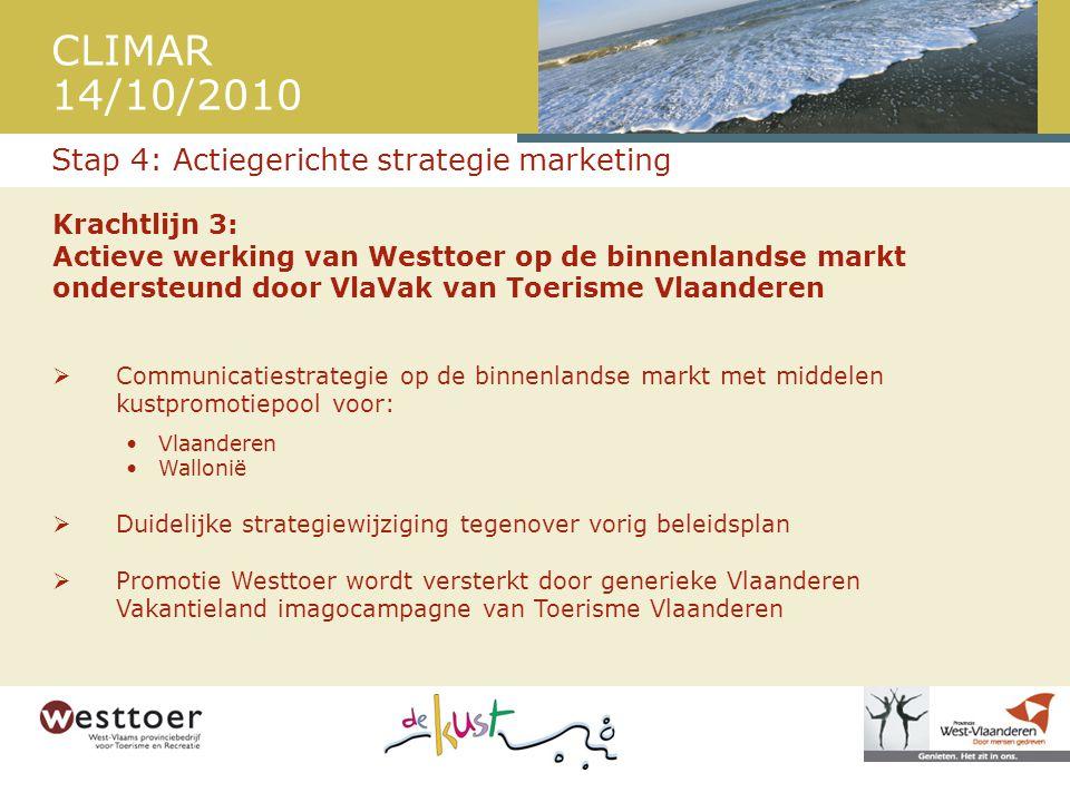 CLIMAR 14/10/2010 Krachtlijn 3: Actieve werking van Westtoer op de binnenlandse markt ondersteund door VlaVak van Toerisme Vlaanderen  Communicatiestrategie op de binnenlandse markt met middelen kustpromotiepool voor: •Vlaanderen •Wallonië  Duidelijke strategiewijziging tegenover vorig beleidsplan  Promotie Westtoer wordt versterkt door generieke Vlaanderen Vakantieland imagocampagne van Toerisme Vlaanderen Stap 4: Actiegerichte strategie marketing