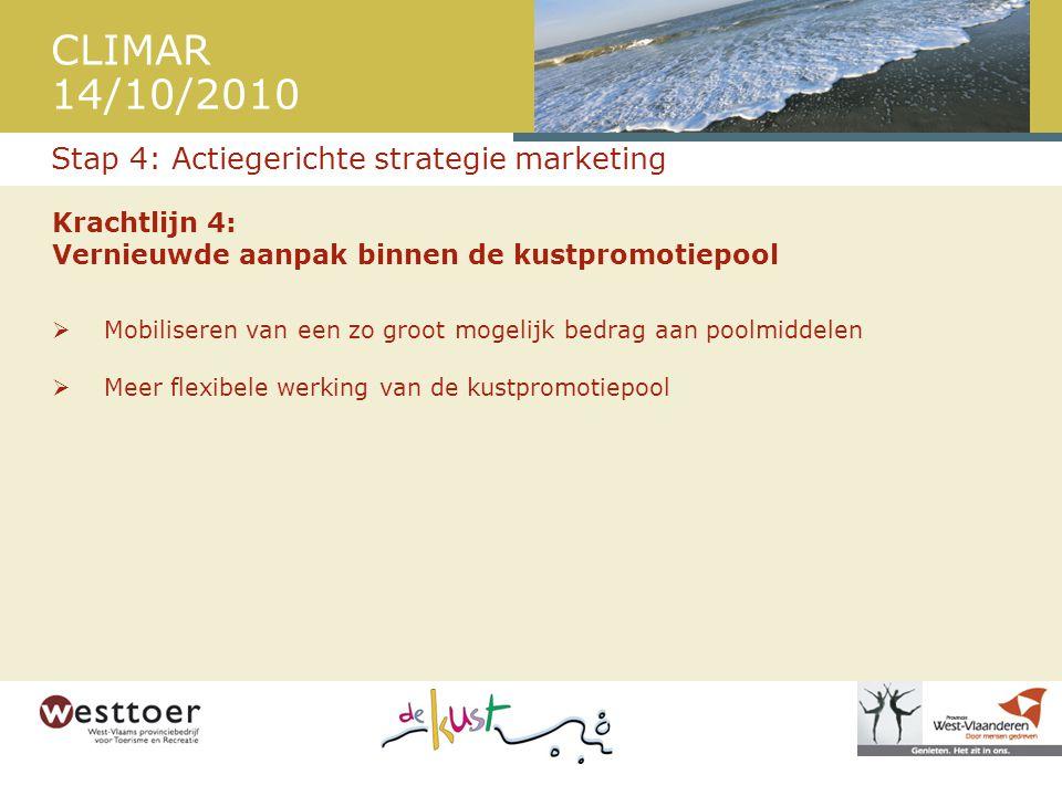 CLIMAR 14/10/2010 Krachtlijn 4: Vernieuwde aanpak binnen de kustpromotiepool  Mobiliseren van een zo groot mogelijk bedrag aan poolmiddelen  Meer flexibele werking van de kustpromotiepool Stap 4: Actiegerichte strategie marketing