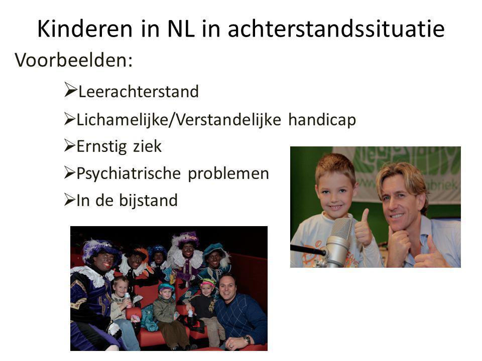 Kinderen in NL in achterstandssituatie Voorbeelden:  Leerachterstand  Lichamelijke/Verstandelijke handicap  Ernstig ziek  Psychiatrische problemen  In de bijstand