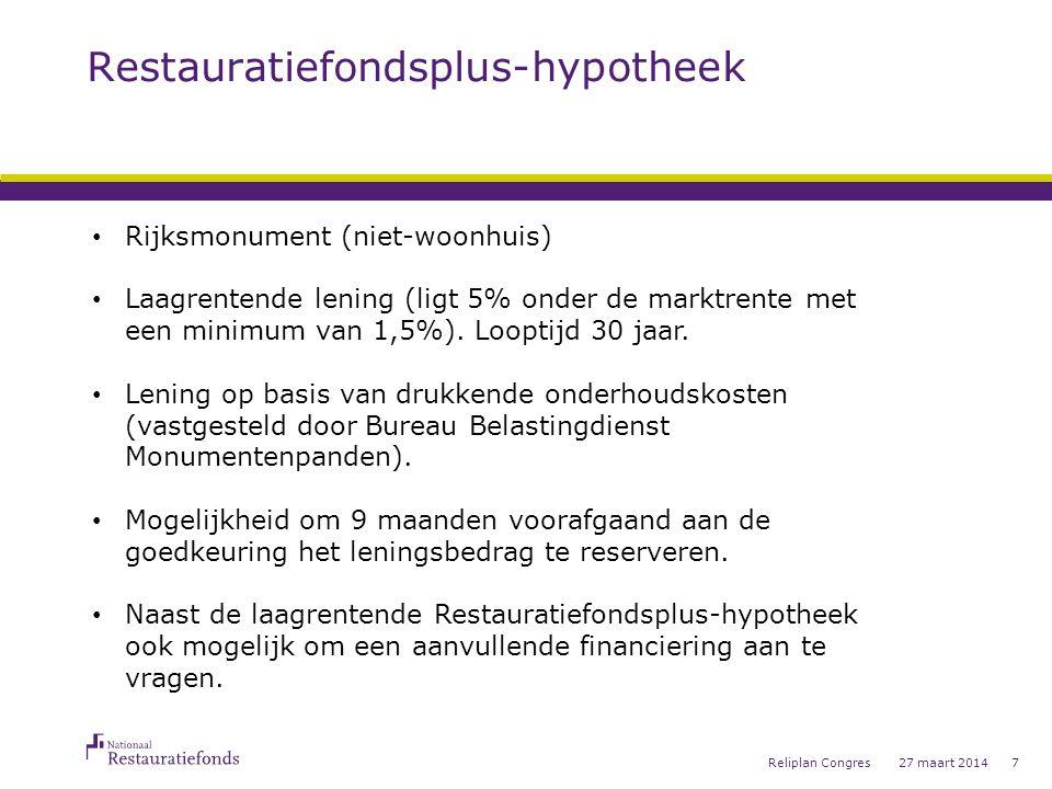 Restauratiefondsplus-hypotheek 27 maart 2014Reliplan Congres7 • Rijksmonument (niet-woonhuis) • Laagrentende lening (ligt 5% onder de marktrente met een minimum van 1,5%).