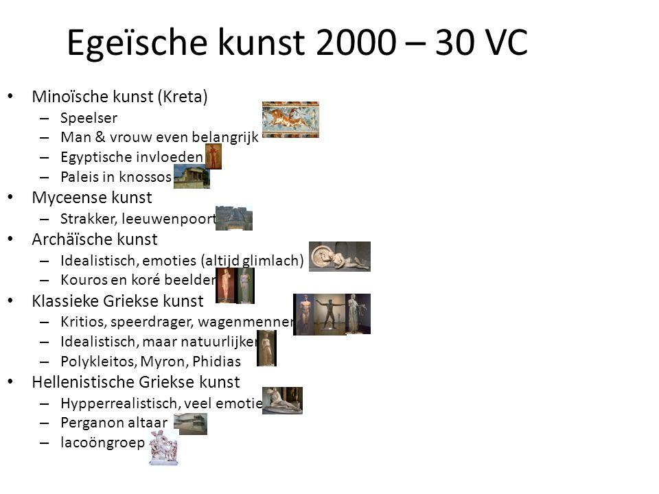 Egeïsche kunst 2000 – 30 VC • Minoïsche kunst (Kreta) – Speelser – Man & vrouw even belangrijk – Egyptische invloeden – Paleis in knossos • Myceense k