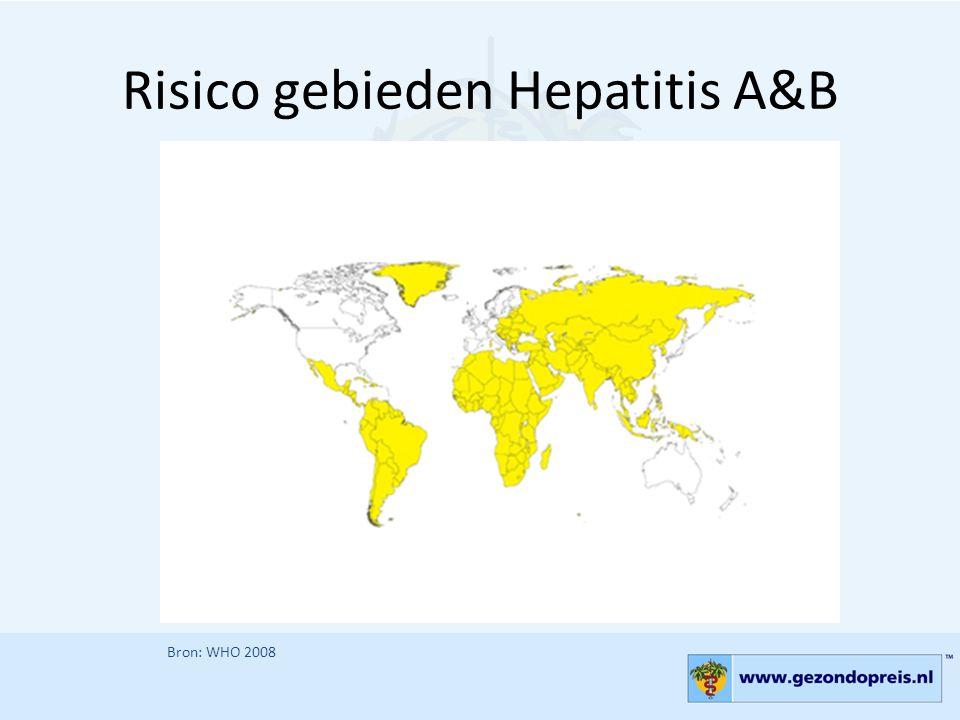 Risico gebieden Hepatitis A&B Bron: WHO 2008