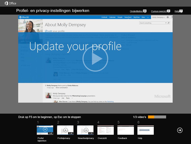 561234 Cursus overzichtHelp Laten we eens een kijkje nemen op uw profielpagina van SharePoint of Office 2013.