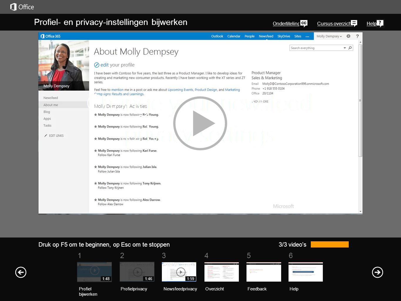 Uw profiel vinden U vindt een koppeling naar uw profiel in de rechterbovenhoek van elke SharePoint 2013- of Office 365-webpagina van uw organisatie.