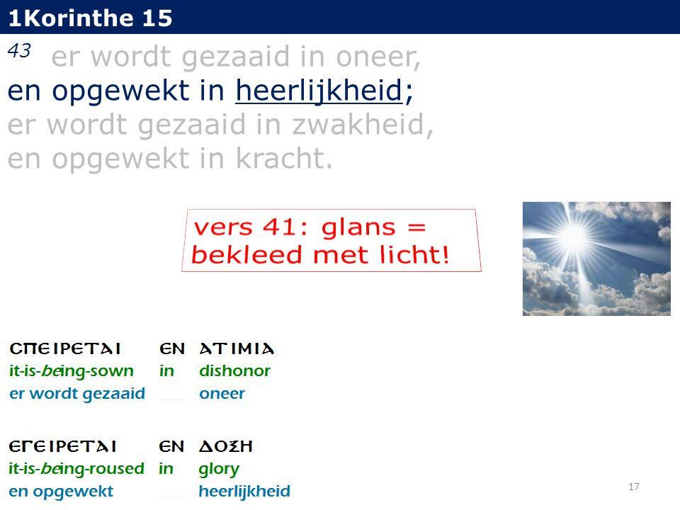 1Korinthe 15 43 er wordt gezaaid in oneer, en opgewekt in heerlijkheid; er wordt gezaaid in zwakheid, en opgewekt in kracht.