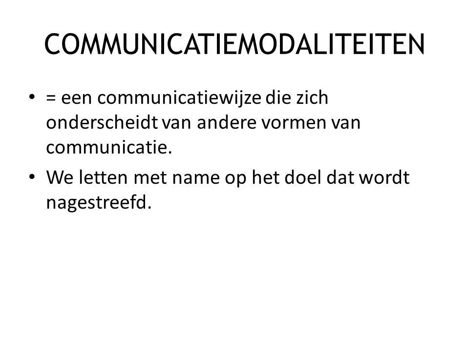 COMMUNICATIEMODALITEITEN • = een communicatiewijze die zich onderscheidt van andere vormen van communicatie. • We letten met name op het doel dat word