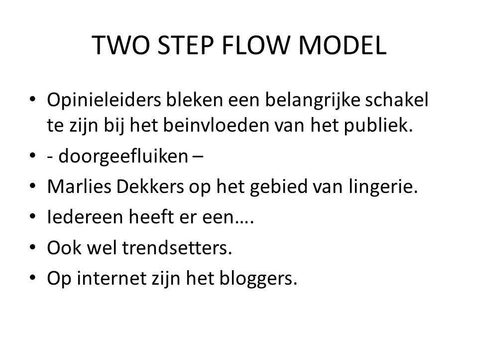 TWO STEP FLOW MODEL • Opinieleiders bleken een belangrijke schakel te zijn bij het beinvloeden van het publiek. • - doorgeefluiken – • Marlies Dekkers
