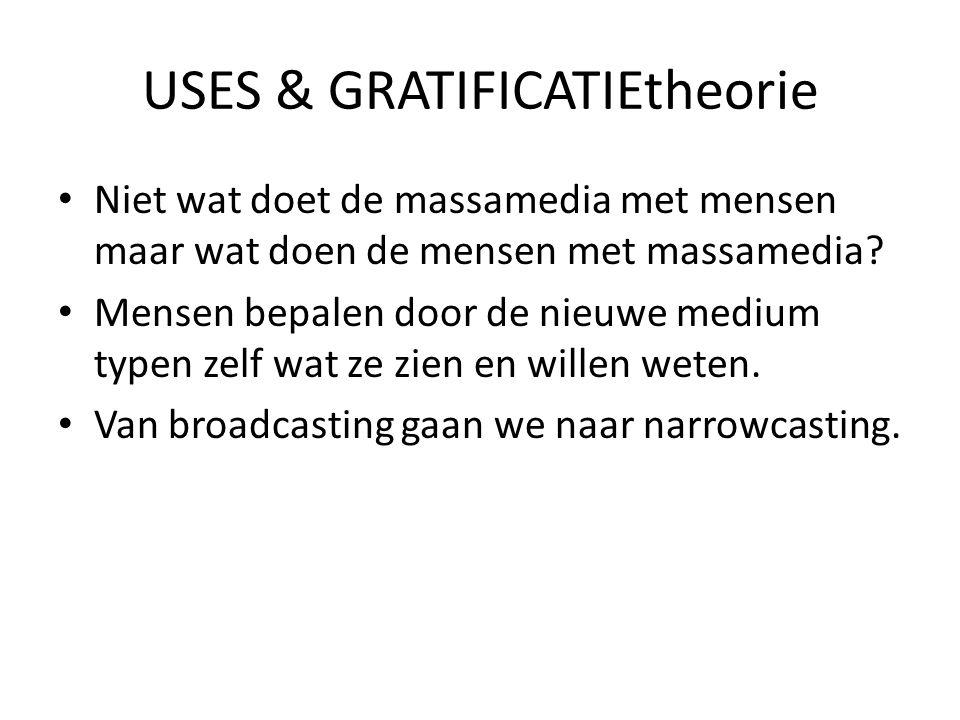 USES & GRATIFICATIEtheorie • Niet wat doet de massamedia met mensen maar wat doen de mensen met massamedia? • Mensen bepalen door de nieuwe medium typ