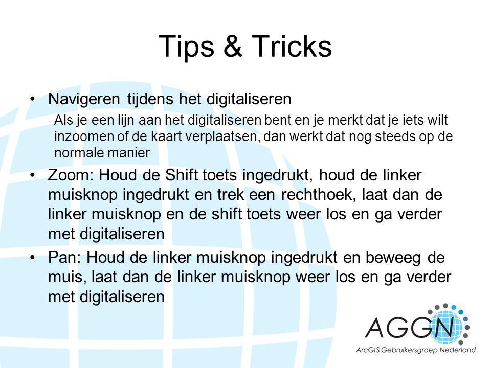 Tips & Tricks •Navigeren tijdens het digitaliseren Als je een lijn aan het digitaliseren bent en je merkt dat je iets wilt inzoomen of de kaart verpla
