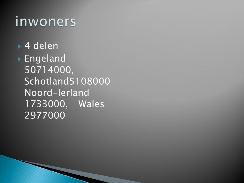 4 delen  Engeland 50714000, Schotland5108000 Noord-Ierland 1733000, Wales 2977000