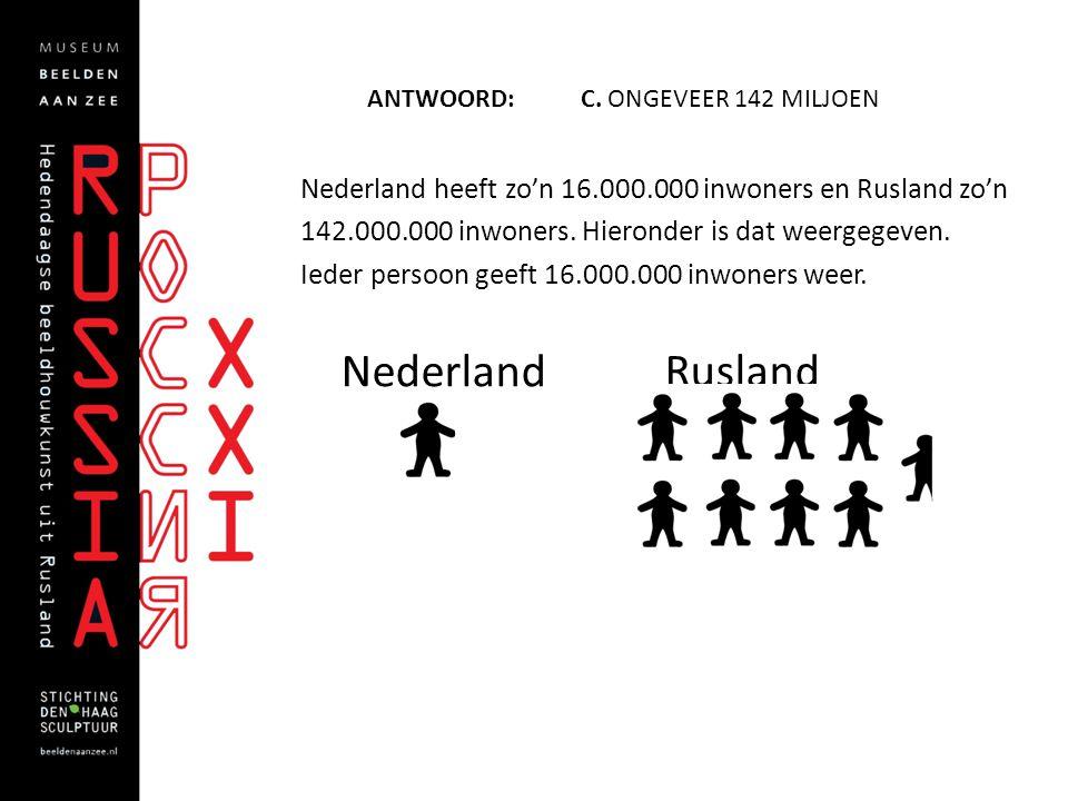 ANTWOORD: C. ONGEVEER 142 MILJOEN Nederland heeft zo'n 16.000.000 inwoners en Rusland zo'n 142.000.000 inwoners. Hieronder is dat weergegeven. Ieder p