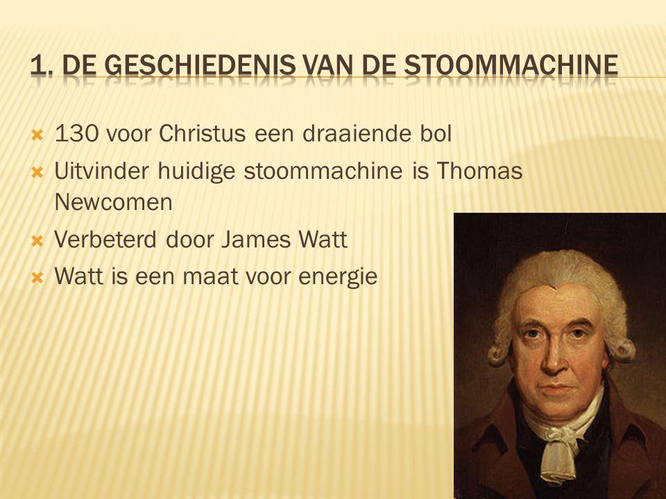 Uitvinder huidige stoommachine is Thomas Newcomen  Verbeterd door James Watt  Watt is een maat voor energie