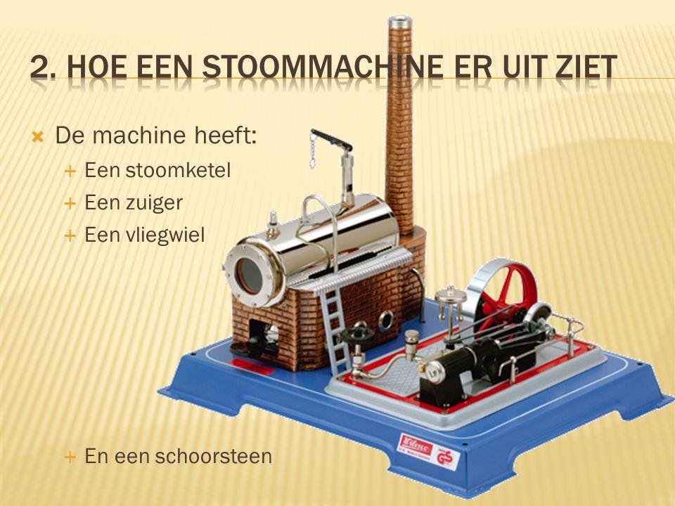  De machine heeft:  Een stoomketel  Een zuiger  Een vliegwiel  En een schoorsteen