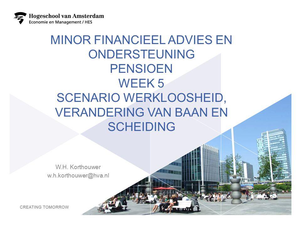 MINOR FINANCIEEL ADVIES EN ONDERSTEUNING PENSIOEN WEEK 5 SCENARIO WERKLOOSHEID, VERANDERING VAN BAAN EN SCHEIDING W.H. Korthouwer w.h.korthouwer@hva.n