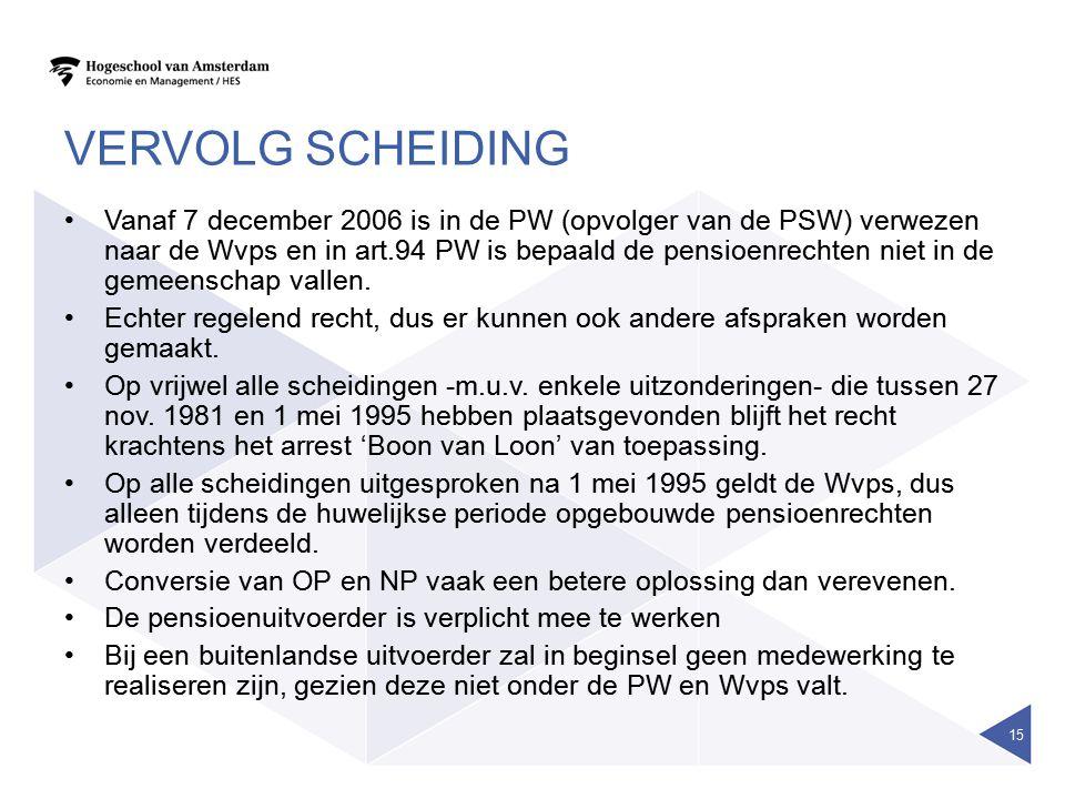 VERVOLG SCHEIDING •Vanaf 7 december 2006 is in de PW (opvolger van de PSW) verwezen naar de Wvps en in art.94 PW is bepaald de pensioenrechten niet in