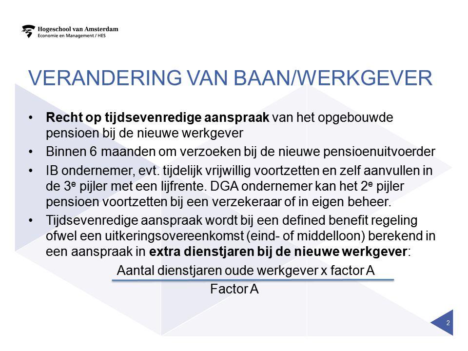VERANDERING VAN BAAN/WERKGEVER •Recht op tijdsevenredige aanspraak van het opgebouwde pensioen bij de nieuwe werkgever •Binnen 6 maanden om verzoeken