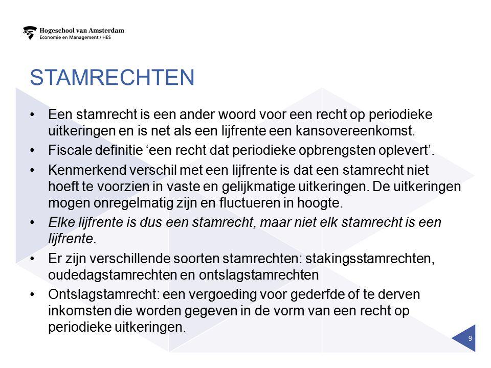 AANWENDEN ONTSLAGSTAMRECHT De aanspraken mogen worden ondergebracht bij: •Een professionele verzekeraar •Vanaf 2010 een bank of beleggingsinstelling •Een in Nederland gevestigd pensioenfonds •Een ander lichaam dat in Nederland is gevestigd, zoals een BV (stamrecht-BV) •Een natuurlijk persoon persoon/de voormalige werkgever •Strenge fiscale voorwaarden: kwalitatieve toets (reden van ontslag) en kwantitatieve toets (hoogte van ontslagvergoeding) •Strafheffing van 52% over de ontslagvergoeding bij de werkgever indien deze fiscaal niet voldoet.