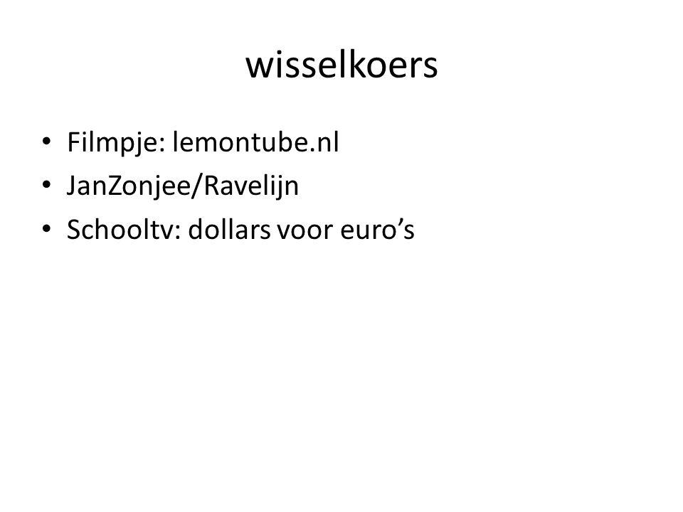 wisselkoers • Filmpje: lemontube.nl • JanZonjee/Ravelijn • Schooltv: dollars voor euro's