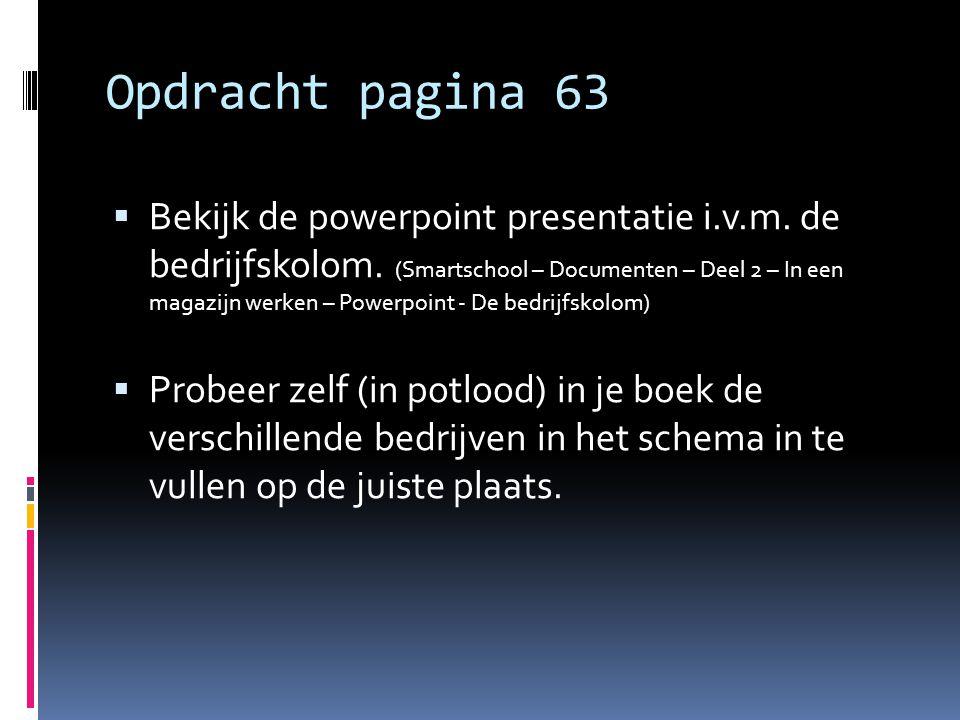 Opdracht pagina 63  Bekijk de powerpoint presentatie i.v.m. de bedrijfskolom. (Smartschool – Documenten – Deel 2 – In een magazijn werken – Powerpoin