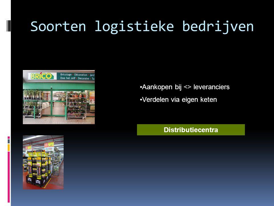 Soorten logistieke bedrijven •Aankopen bij <> leveranciers •Verdelen via eigen keten Distributiecentra