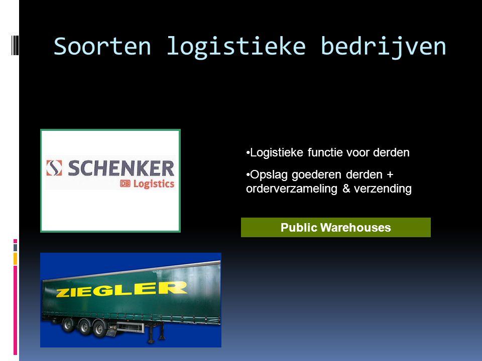 Soorten logistieke bedrijven •Logistieke functie voor derden •Opslag goederen derden + orderverzameling & verzending Public Warehouses