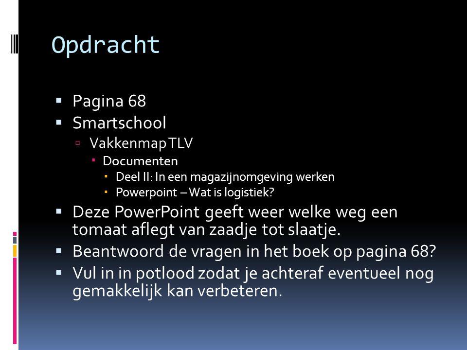 Opdracht  Pagina 68  Smartschool  Vakkenmap TLV  Documenten  Deel II: In een magazijnomgeving werken  Powerpoint – Wat is logistiek?  Deze Powe