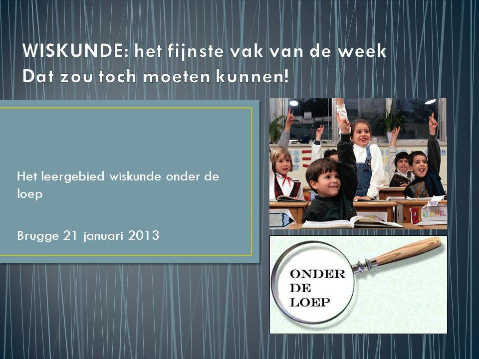 Het leergebied wiskunde onder de loep Brugge 21 januari 2013