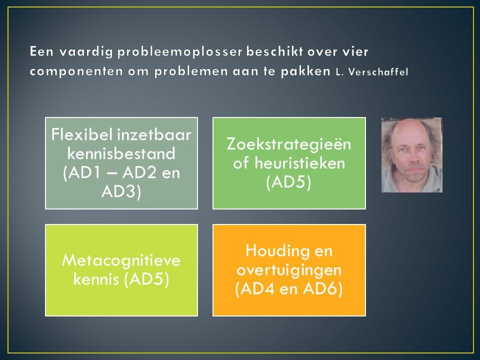 Flexibel inzetbaar kennisbestand (AD1 – AD2 en AD3) Zoekstrategieën of heuristieken (AD5) Metacognitieve kennis (AD5) Houding en overtuigingen (AD4 en