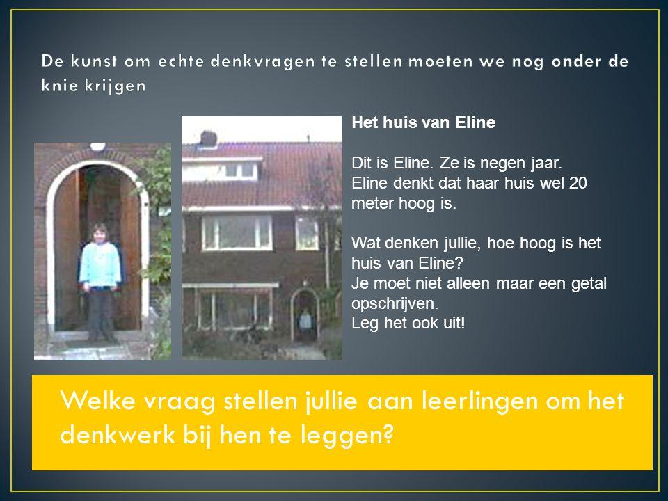 Welke vraag stellen jullie aan leerlingen om het denkwerk bij hen te leggen? Het huis van Eline Dit is Eline. Ze is negen jaar. Eline denkt dat haar h
