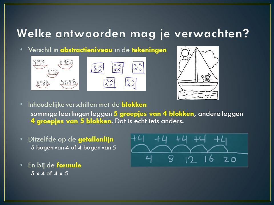 • Verschil in abstractieniveau in de tekeningen • Inhoudelijke verschillen met de blokken sommige leerlingen leggen 5 groepjes van 4 blokken, andere leggen 4 groepjes van 5 blokken.