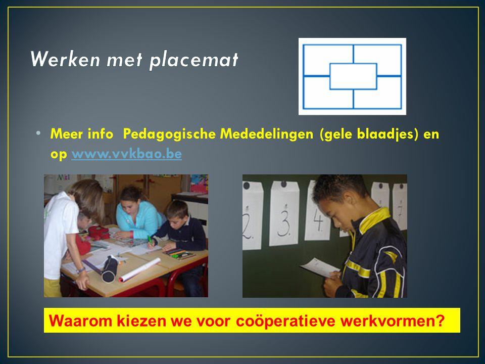 • Meer info Pedagogische Mededelingen (gele blaadjes) en op www.vvkbao.bewww.vvkbao.be Waarom kiezen we voor coöperatieve werkvormen?