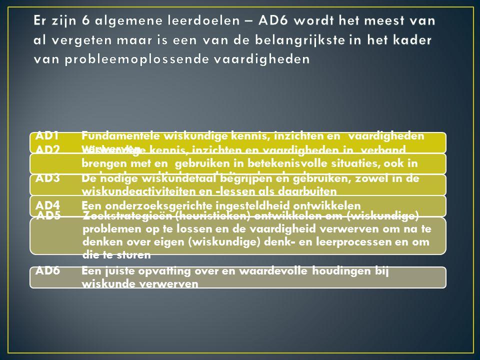 AD1 Fundamentele wiskundige kennis, inzichten en vaardigheden verwerven AD2 Wiskundige kennis, inzichten en vaardigheden in verband brengen met en gebruiken in betekenisvolle situaties, ook in andere leergebieden en buiten de school AD3 De nodige wiskundetaal begrijpen en gebruiken, zowel in de wiskundeactiviteiten en -lessen als daarbuiten AD4 Een onderzoeksgerichte ingesteldheid ontwikkelen AD5 Zoekstrategieën (heuristieken) ontwikkelen om (wiskundige) problemen op te lossen en de vaardigheid verwerven om na te denken over eigen (wiskundige) denk- en leerprocessen en om die te sturen AD6 Een juiste opvatting over en waardevolle houdingen bij wiskunde verwerven