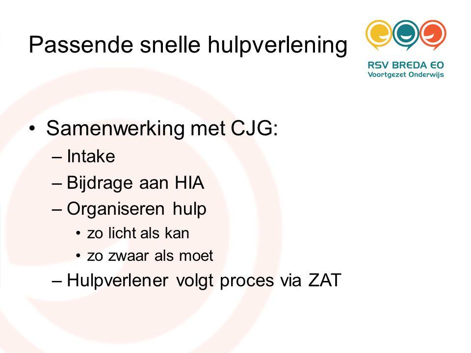 Passende snelle hulpverlening •Samenwerking met CJG: –Intake –Bijdrage aan HIA –Organiseren hulp •zo licht als kan •zo zwaar als moet –Hulpverlener vo
