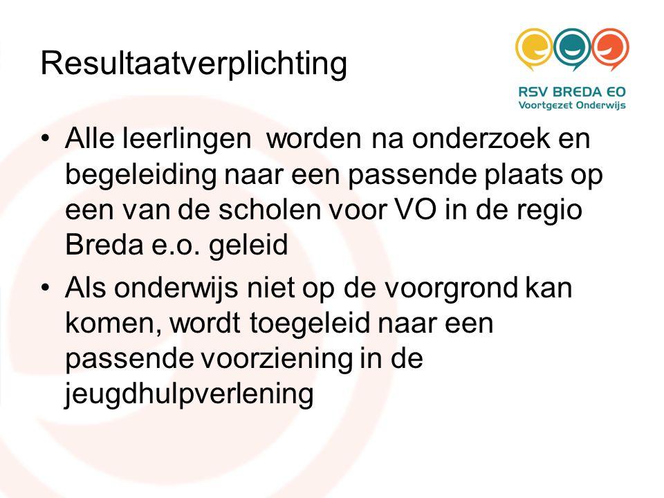 Resultaatverplichting •Alle leerlingen worden na onderzoek en begeleiding naar een passende plaats op een van de scholen voor VO in de regio Breda e.o