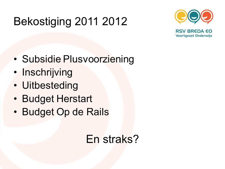 Bekostiging 2011 2012 •Subsidie Plusvoorziening •Inschrijving •Uitbesteding •Budget Herstart •Budget Op de Rails En straks?