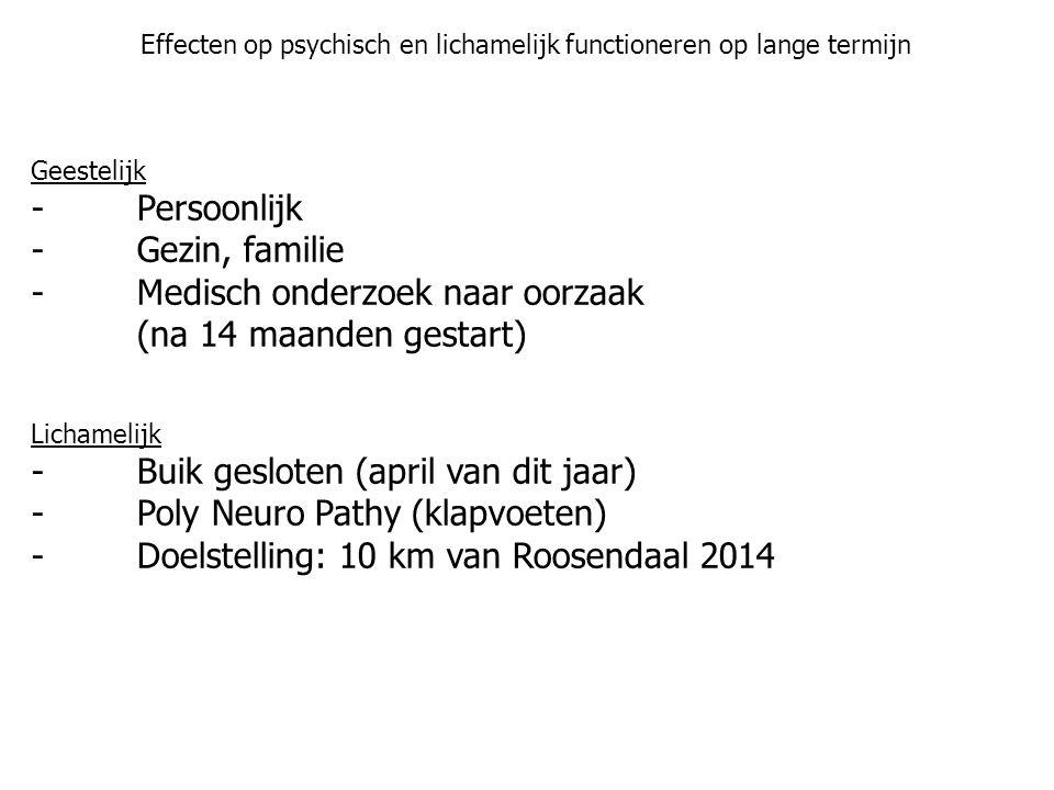 Effecten op psychisch en lichamelijk functioneren op lange termijn Geestelijk -Persoonlijk -Gezin, familie -Medisch onderzoek naar oorzaak (na 14 maanden gestart) Lichamelijk -Buik gesloten (april van dit jaar) -Poly Neuro Pathy (klapvoeten) -Doelstelling: 10 km van Roosendaal 2014
