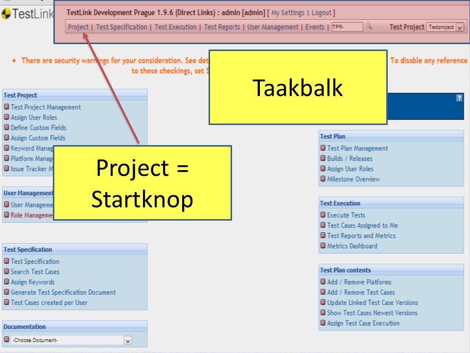 Taakbalk Project = Startknop