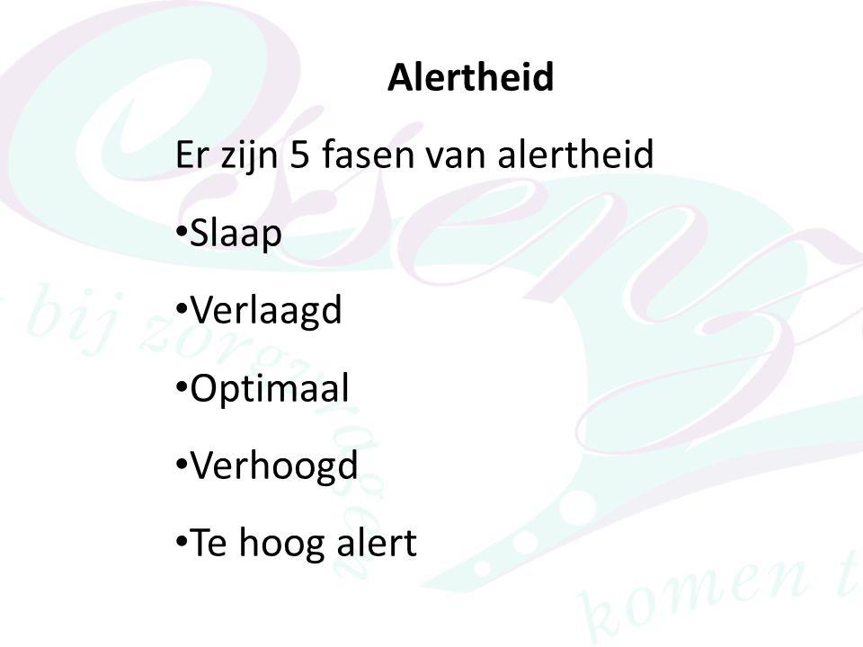 Alertheid Er zijn 5 fasen van alertheid • Slaap • Verlaagd • Optimaal • Verhoogd • Te hoog alert