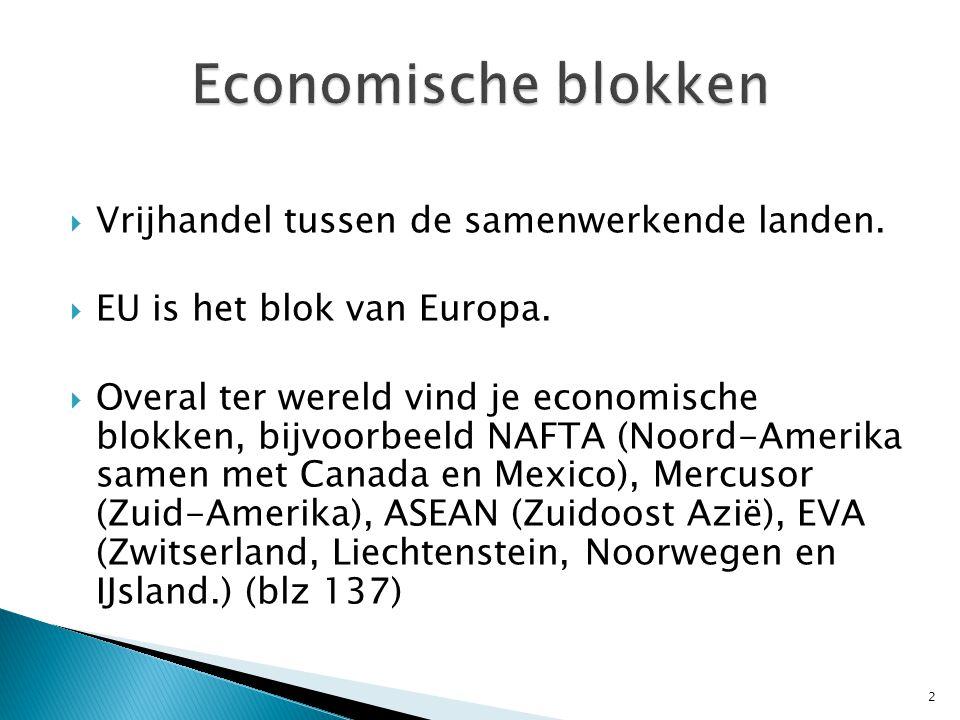  Vrijhandel tussen de samenwerkende landen. EU is het blok van Europa.