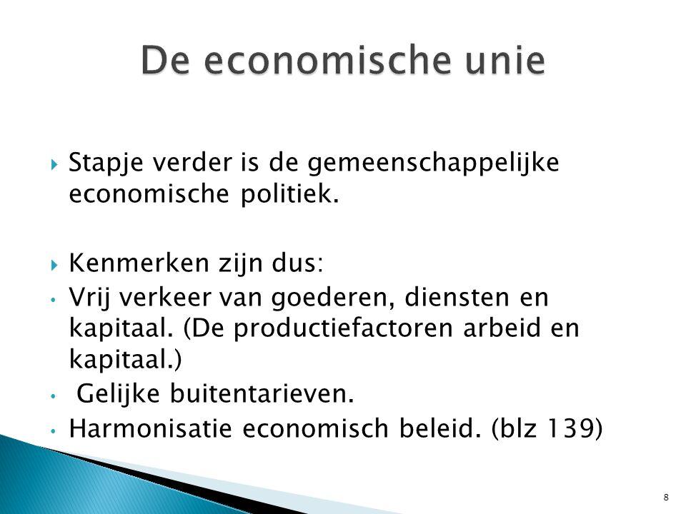  Stapje verder is de gemeenschappelijke economische politiek.
