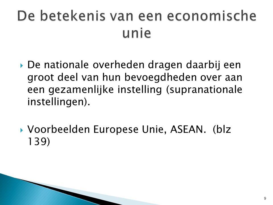  De nationale overheden dragen daarbij een groot deel van hun bevoegdheden over aan een gezamenlijke instelling (supranationale instellingen).