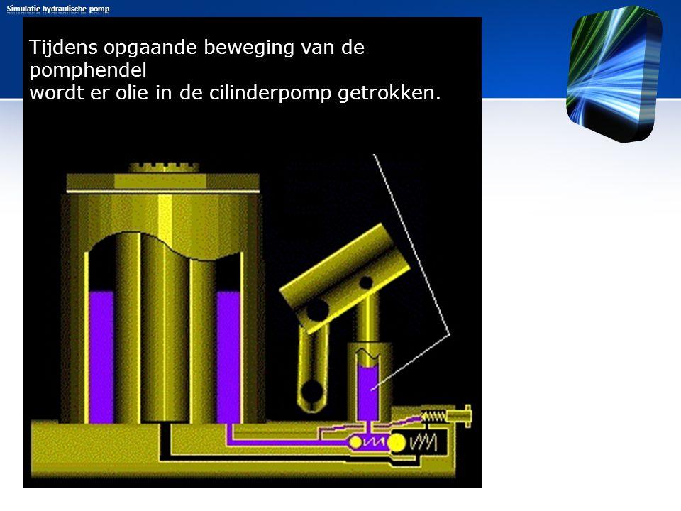 Tijdens opgaande beweging van de pomphendel wordt er olie in de cilinderpomp getrokken. Door de aanzuigende werking komt de kleine kogel los en wordt