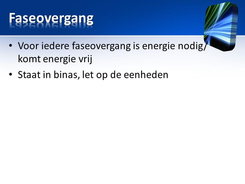 • Voor iedere faseovergang is energie nodig/ komt energie vrij • Staat in binas, let op de eenheden