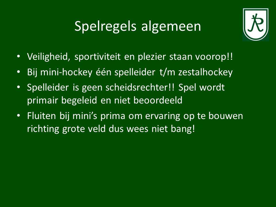 Wedstrijden • 3-tal hockey: 2 x 15 minuten • 6-talhockey: 2 x 25 minuten • 8-talhockey: 2 x 30 minuten • (Jeugd/senioren: 2 x 35 minuten) • Doelpunt alleen als bal is aangeraakt binnen het doelgebied/cirkel • Mogelijkheid van time-outs (spelleider of coach) • Maatregelen bij groot verschil in speelsterkte